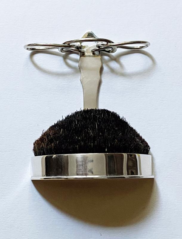 Antique Silver Quill Pen Stand Nib Brush Wipe, London 1902 William Comyns