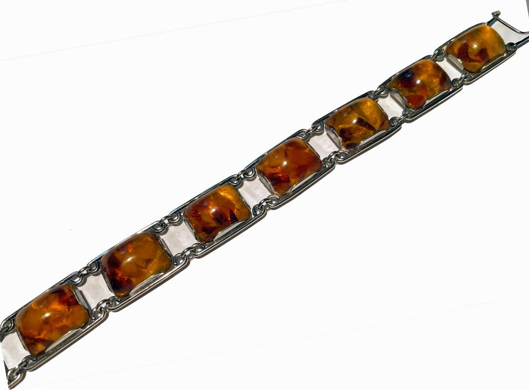 1950's Baltic Amber and Silver Bracelet, Germany C.1950 Fischland