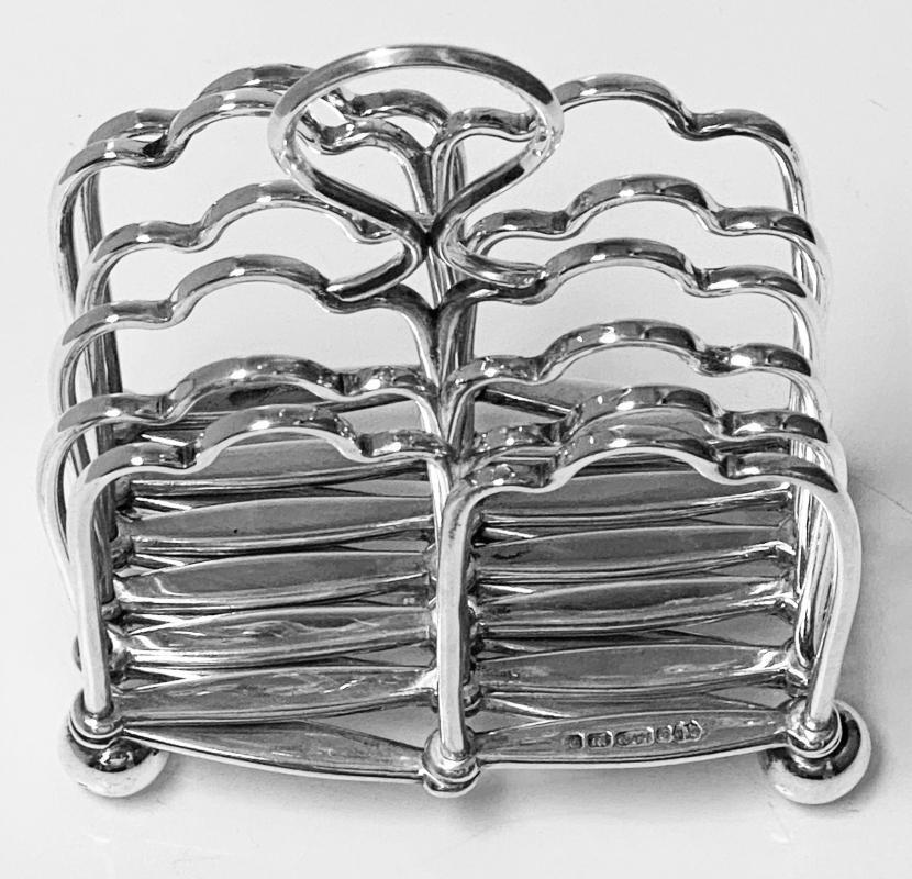 Expandable Silver Plate Toast rack concertina form, English, Elkington & Co. C.1870.