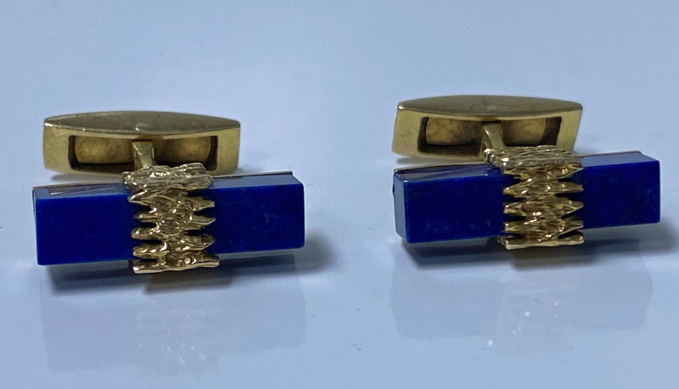 1970's Gold Lapis Cufflinks