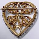 Diamond Clover Heart Brooch Pendant Platinum and 18K C.1930