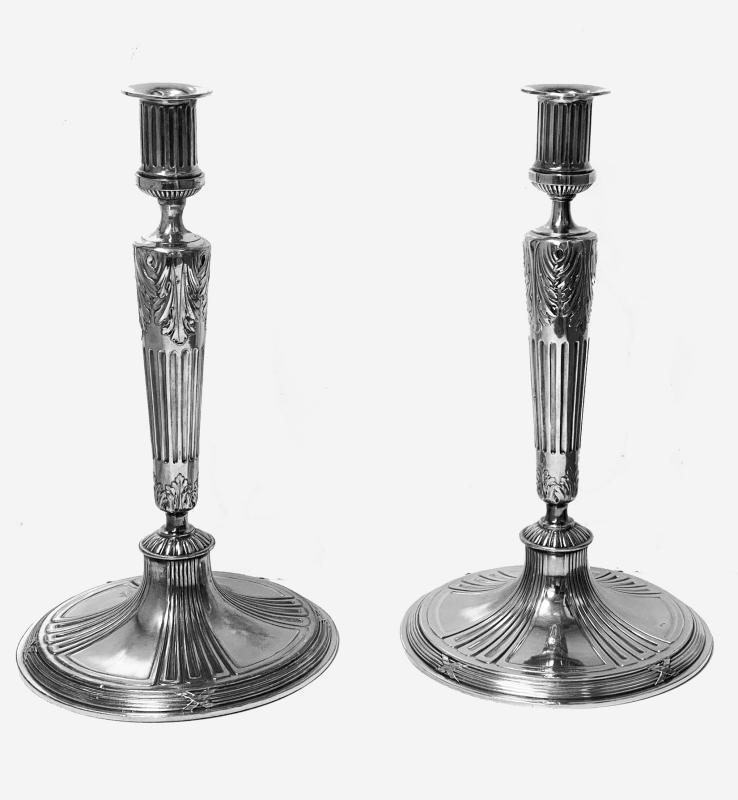 Pair of silvered metal Candlesticks, Germany C.1900 by Orivit.