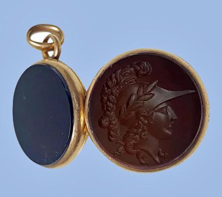 Antique 14k gold double sided hardstone locket fob pendant charm, C.1880