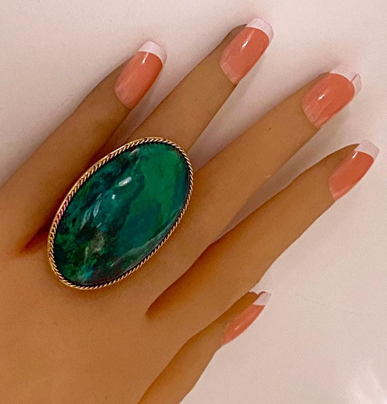 Large blue green Turquoise cabochon Ring
