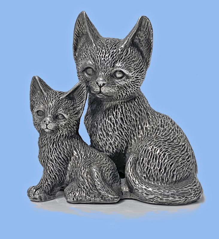 Silver 925 Cat and Kitten Sculpture 1960's