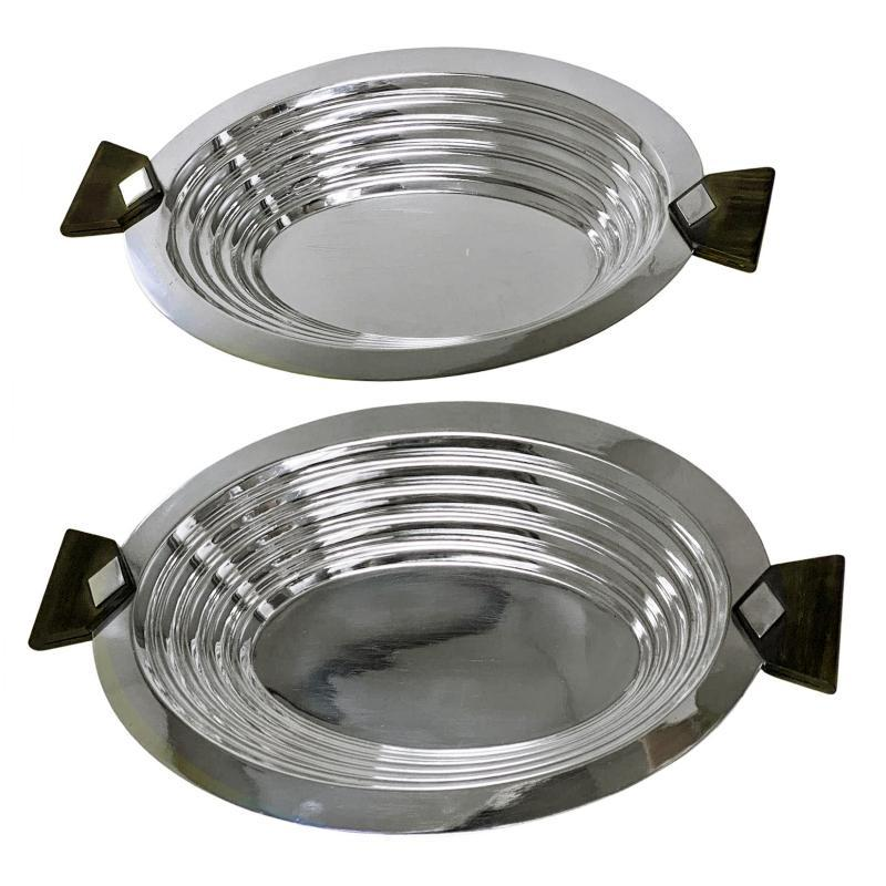 Pair of Christofle Art Deco Silver plate and wood Serving Dishes France C.1930.