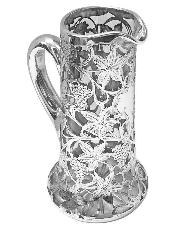 Alvin Sterling Overlay large Glass Jug Pitcher, c. 1900