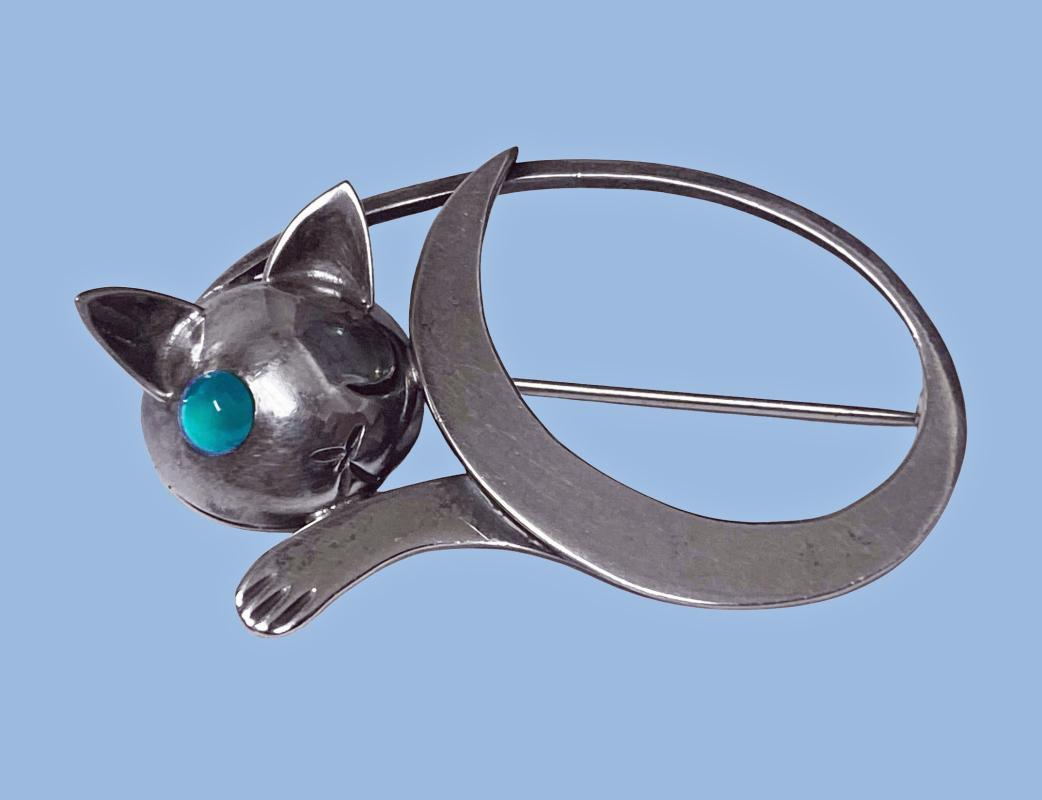 JoPol Sterling Cat Brooch C.1945