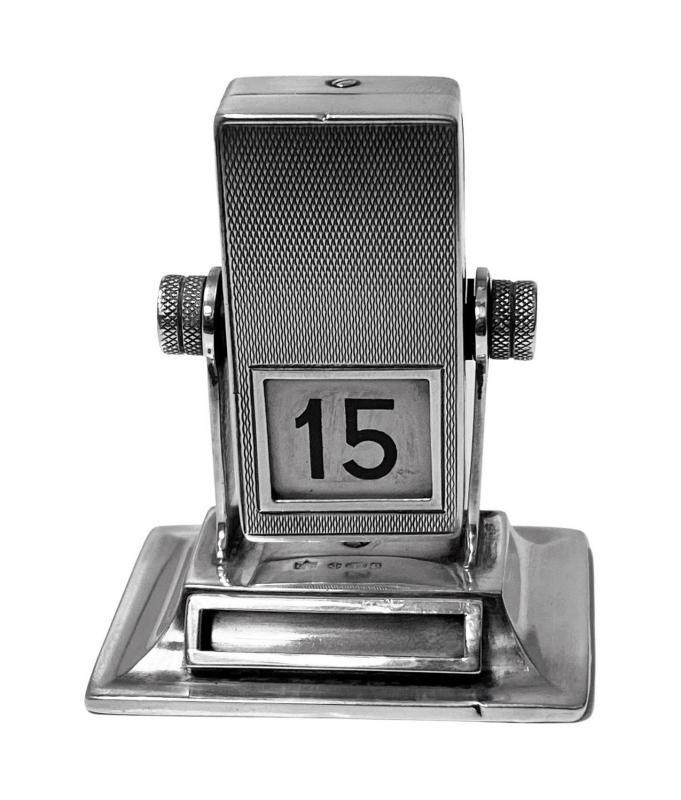 Rare English Sterling silver mechanical rotating desk calendar, London 1930 Stockwell