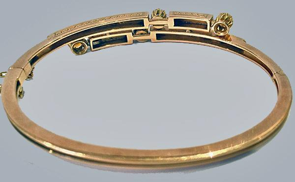 Antique 15K rose gold Sapphire and Pearl Bangle, English C.1890
