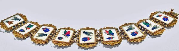 Pietra Dura Gold Bracelet, Italy C.1875.