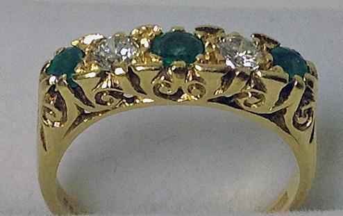 Emerald Diamond Gold Ring Antique Style