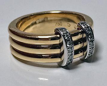 Omega Diamond Gold Band Ring, French marks