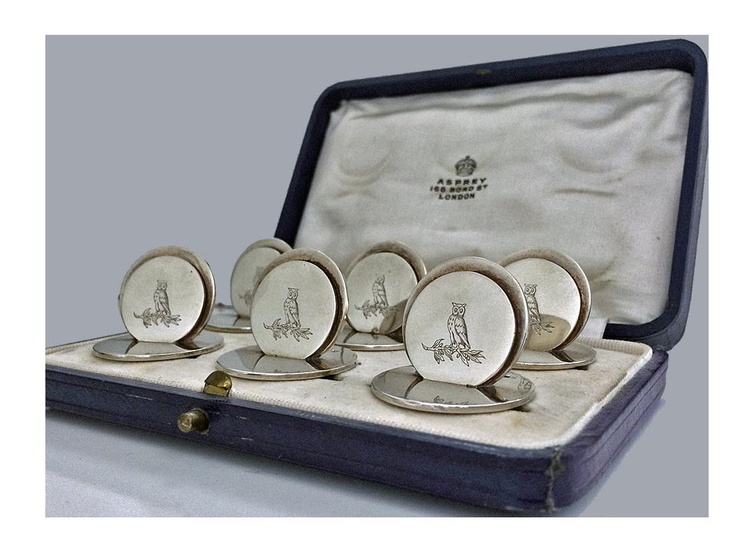 Asprey Sterling Silver Place Card Menu Card Holders 1931