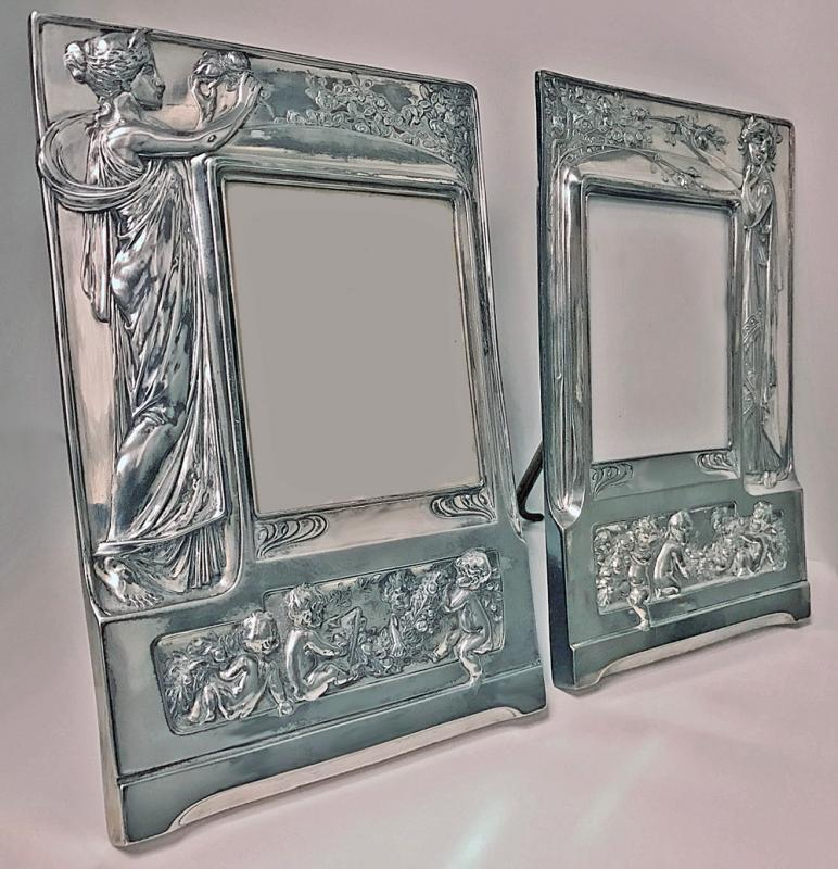 Pair of Art Nouveau large Silver Plate Photograph Frames, Germany C.1900.