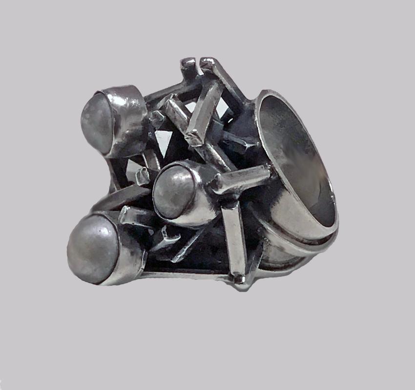 Rachel Gera Abstract Modernist Sterling Ring, Israel, C.1975.