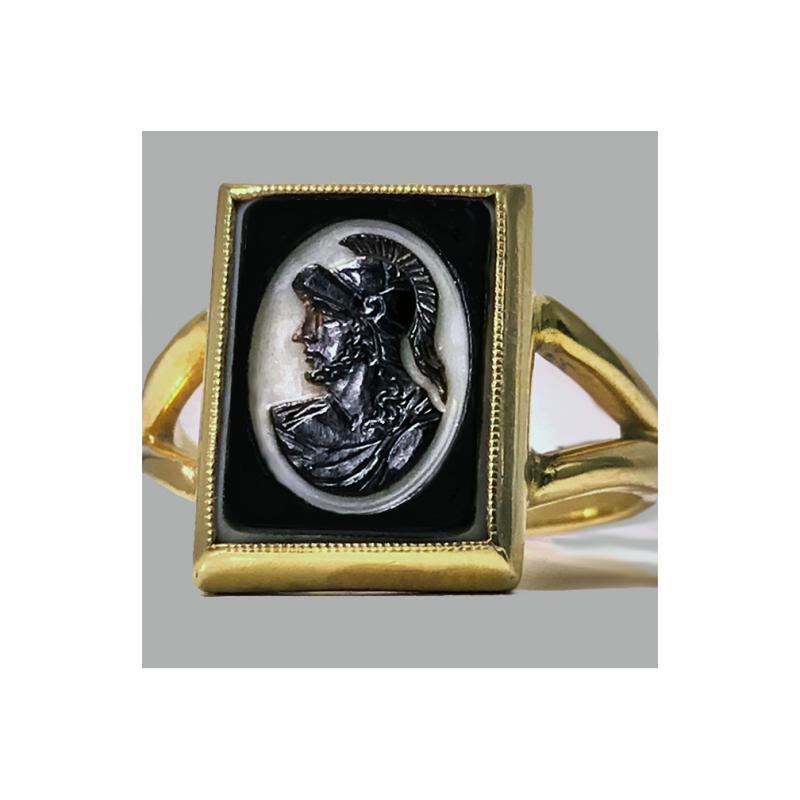 Antique 14K hardstone Cameo Ring, C.1900