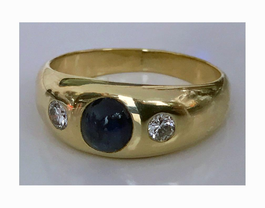 14K Cabochon Sapphire and Diamond Ring, C.1940