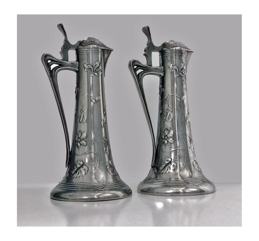 Pair of Art Nouveau Pewter Liquor Jugs, Germany C.1900