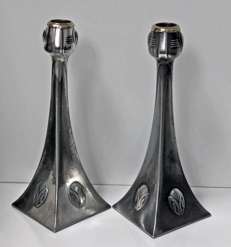 Pair of WMF Art Nouveau Pewter Candlesticks, Albin Muller, Germany C.1906