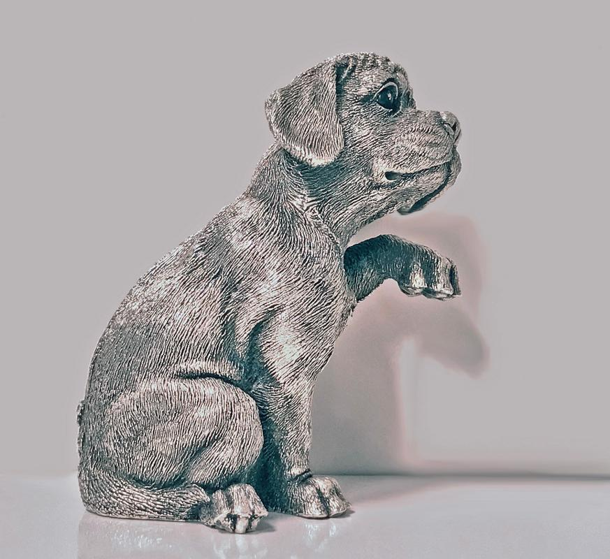 Sterling Sculpture of Spaniel Dog, C.1995