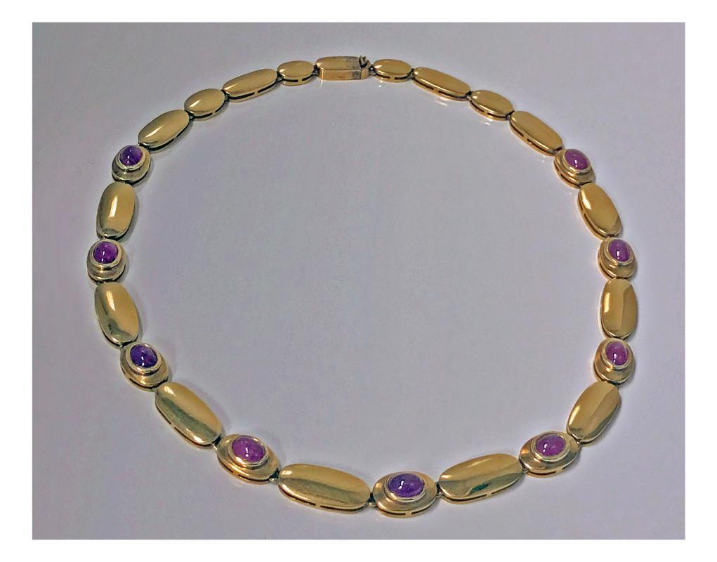 Ruby Necklace and Bracelet 18K rose gold cabochon