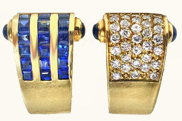 Diamond Sapphire Gold Bangle and Earrings, C.1980