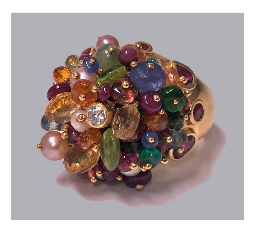 1950's French 18K multi gem tutti frutti dome cocktail Ring, heavy quality.