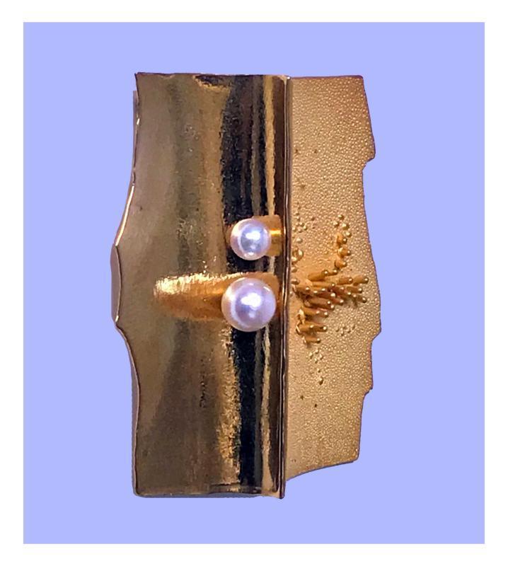 Walter Schluep 18K abstract Brooch Pin, C.1970.