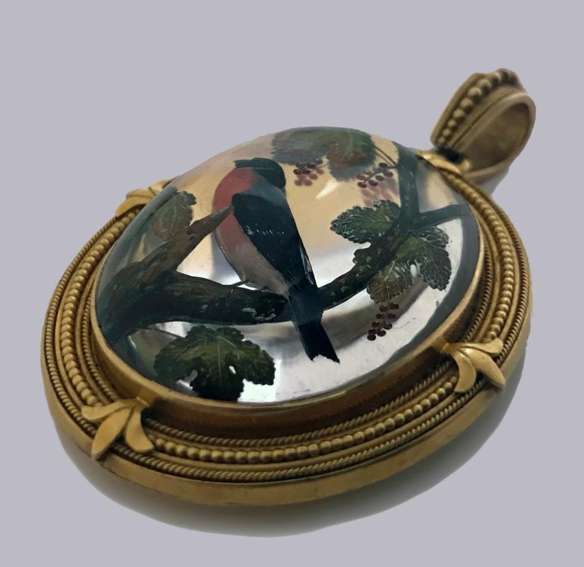 Very Fine Gold Reverse Intaglio Painted Crystal Pendant, C.1870