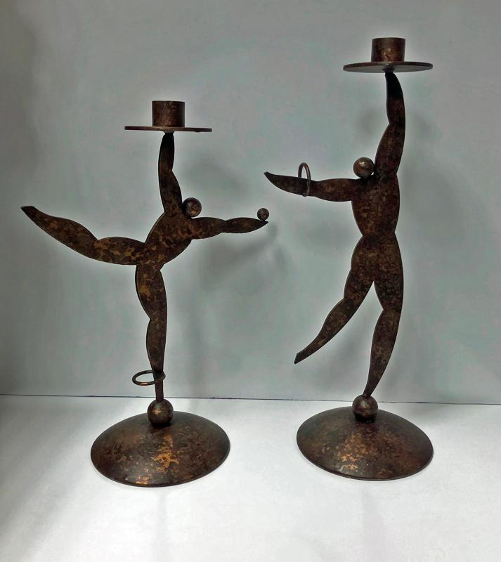 1950's Hagenauer style candleholders in the form of dancers.