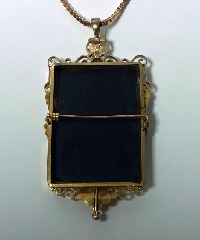 Antique Gold Pietra Dura Pendant Brooch, Italy C.1875.