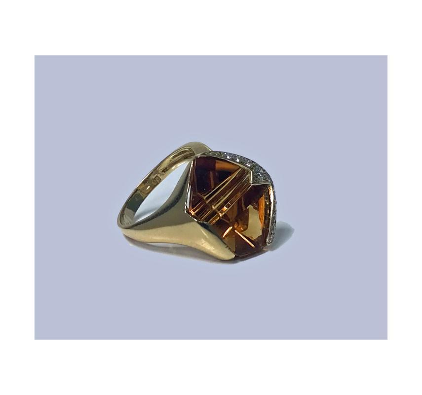 Diamond and Citrine Gold Ring