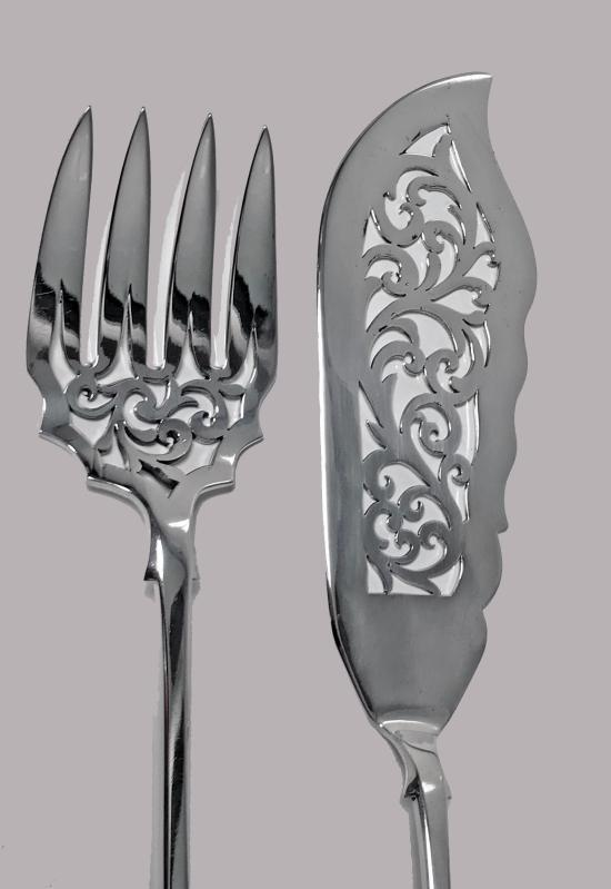 Pair of Antique Sterling Silver Fish Servers, London 1854, Charles Boyton