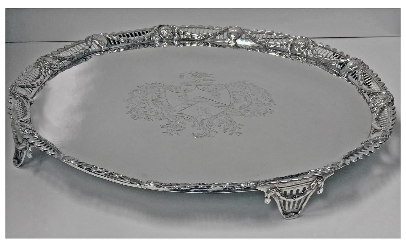 Large Georgian Sterling Silver Salver, London 1774 John Carter