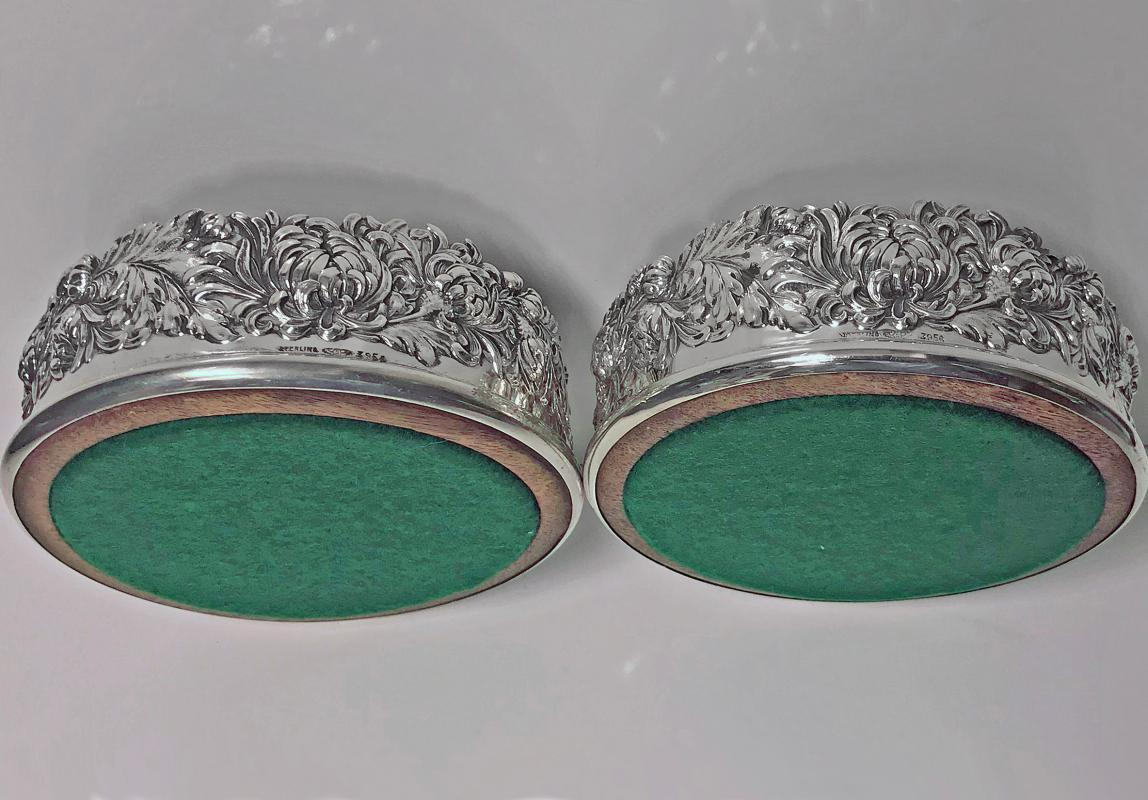 Pair of American Sterling George Shiebler large Wine Coasters, C.1880