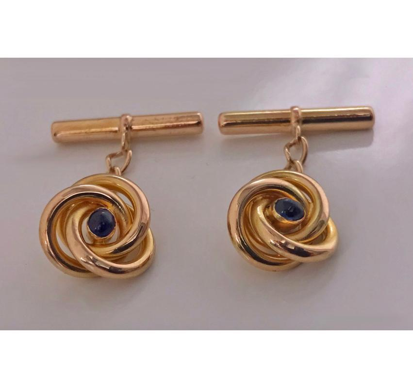 Pair of Antique Gold Sapphire Cufflinks, C.1930