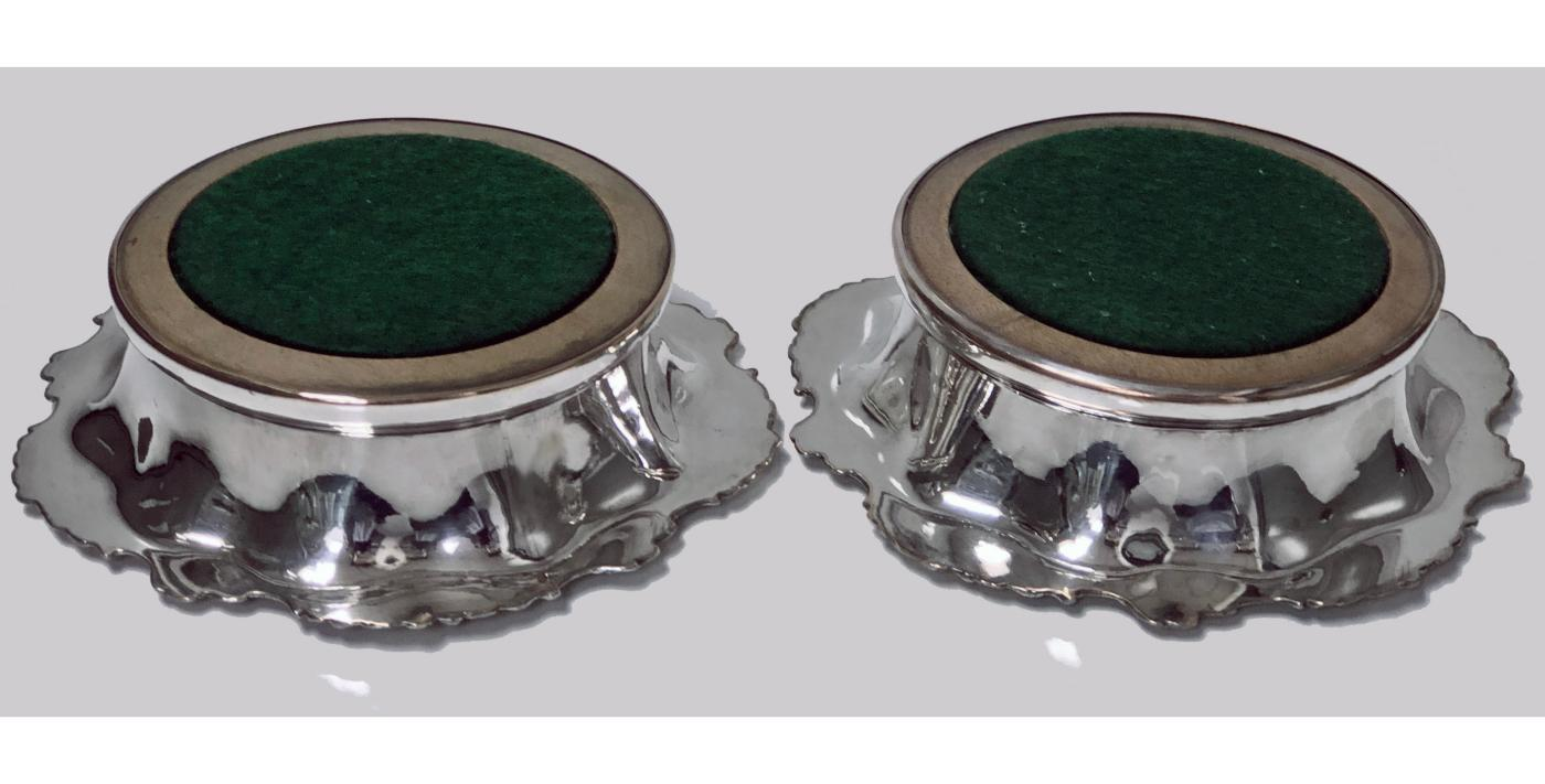 Pair Antique Old Sheffield Coasters England C.1835 Dixon, silver bosses