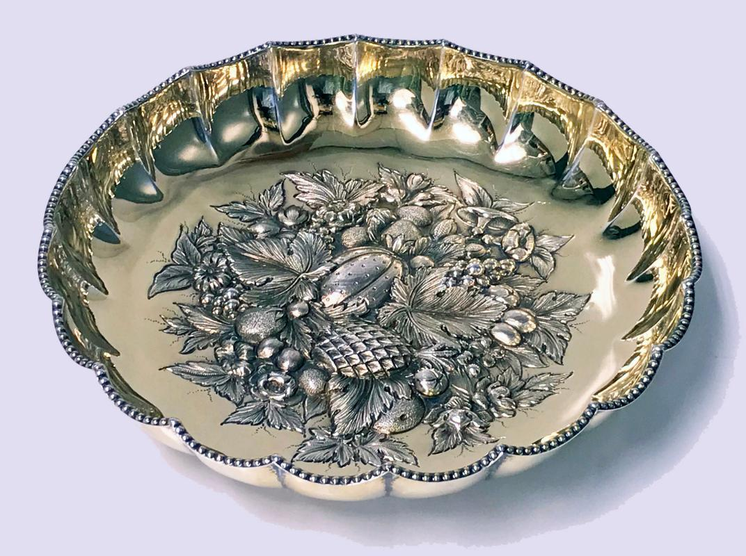 Fine Antique English Silver Gilt Fruit Bowl, 1911 James Dixon & Sons