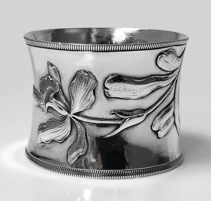 Large French Art Nouveau Silver 1st std Serviette Ring, C.1900