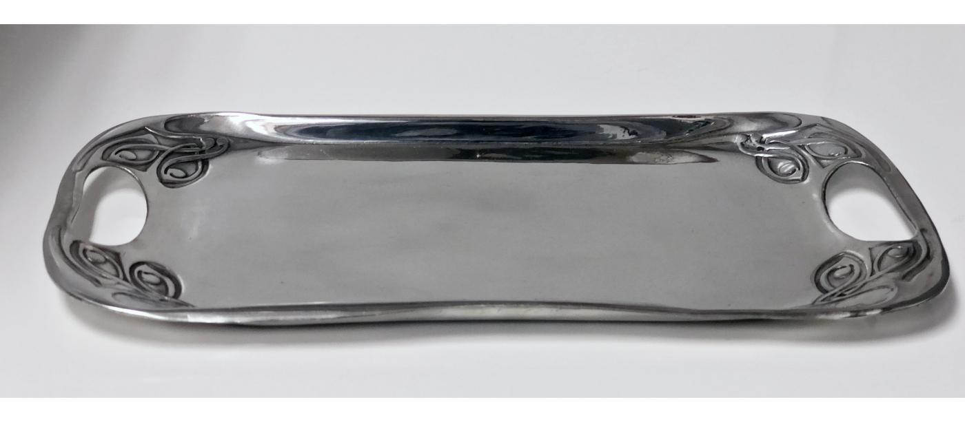 Liberty and Co polished pewter Tray, designed by Archibald Knox, 1902-1905