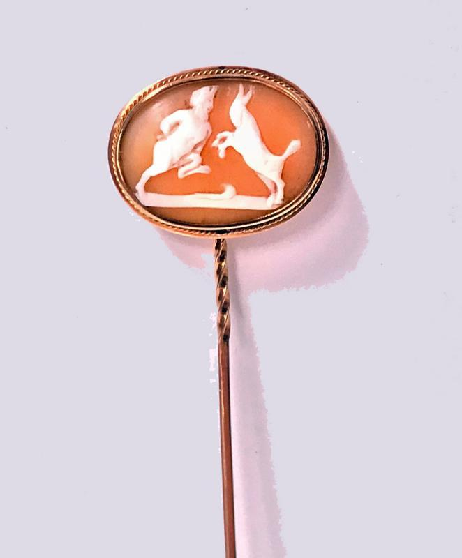Fine Antique Cameo Stickpin Satyr sparring with a Goat, C.1875