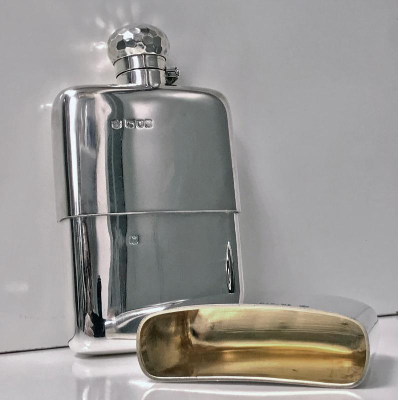 Antique English Sterling Silver flask, London 1900, Drew and Sons