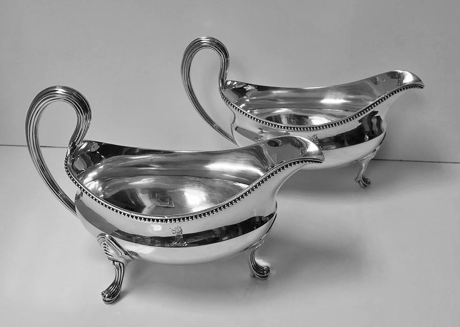 Georgian Silver Sauceboats, London 1793, John Wakelin and Robert Garrard