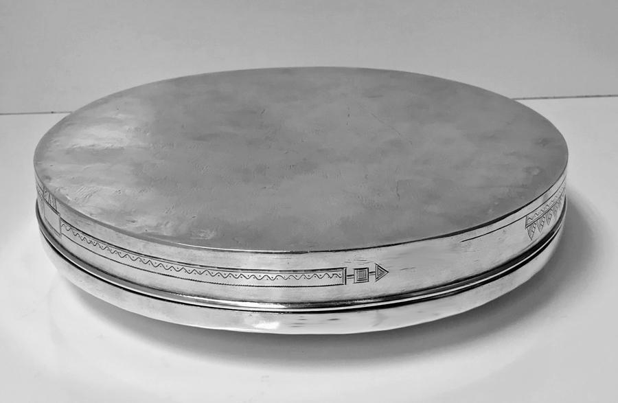 Large Persian Solid Silver circular box biscuit tin, Tehran C.1910-20
