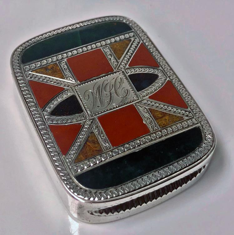 Silver `Scottish Market' Puzzle Agate Vesta Case, Chester 1891 J W Kirwan