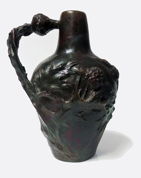 French Art Nouveau Bronze Jug Vase Jeanne Jozon (1868-1946)