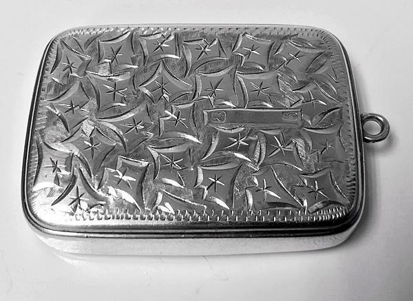 Antique Victorian Silver Puzzle Vesta Case, Birmingham 1898 Joseph Gloster.