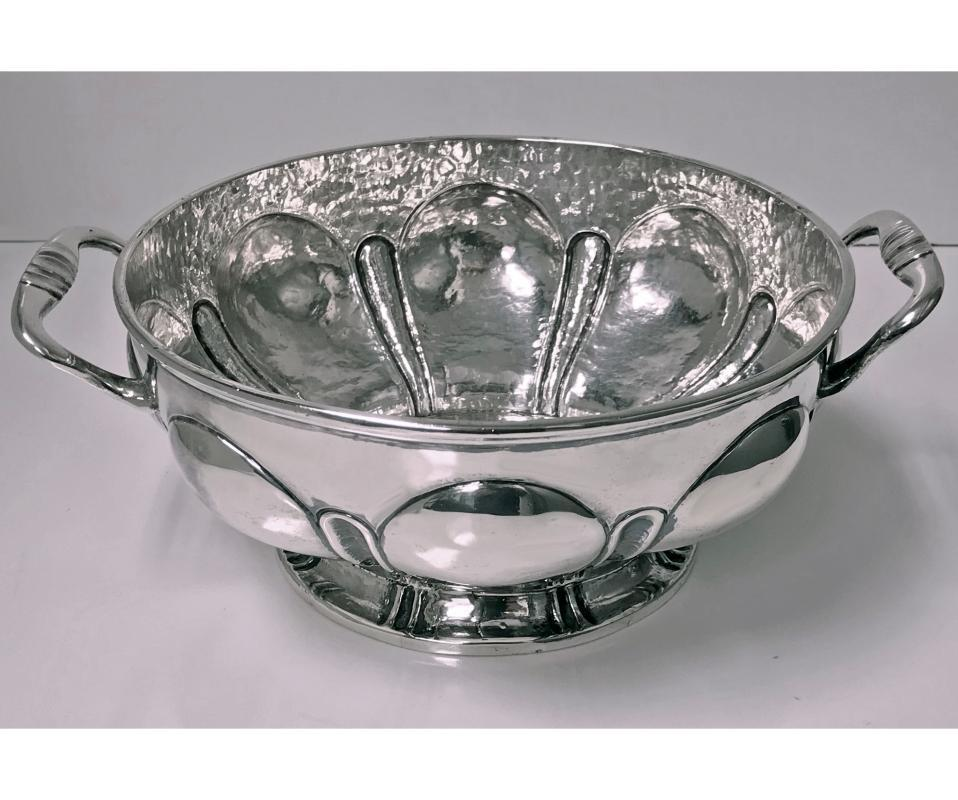 1940's Mexican hammered and polished Silver Bowl, Mendoza, C.1940.
