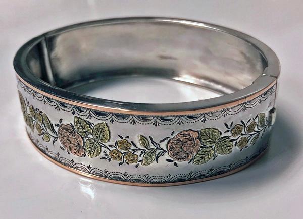 Antique 18K three colour gold and Sterling Bangle Bracelet, C.1880